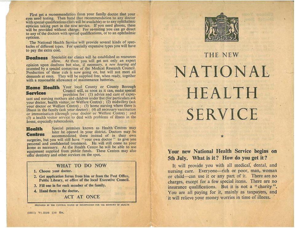 Folleto original que se dejó en los felpudos de los hogares del Reino Unido el 04 de julio de 1948 anunciando el inicio del Sistema Nacional de Salud (NHS)  vía @londonlabourpty