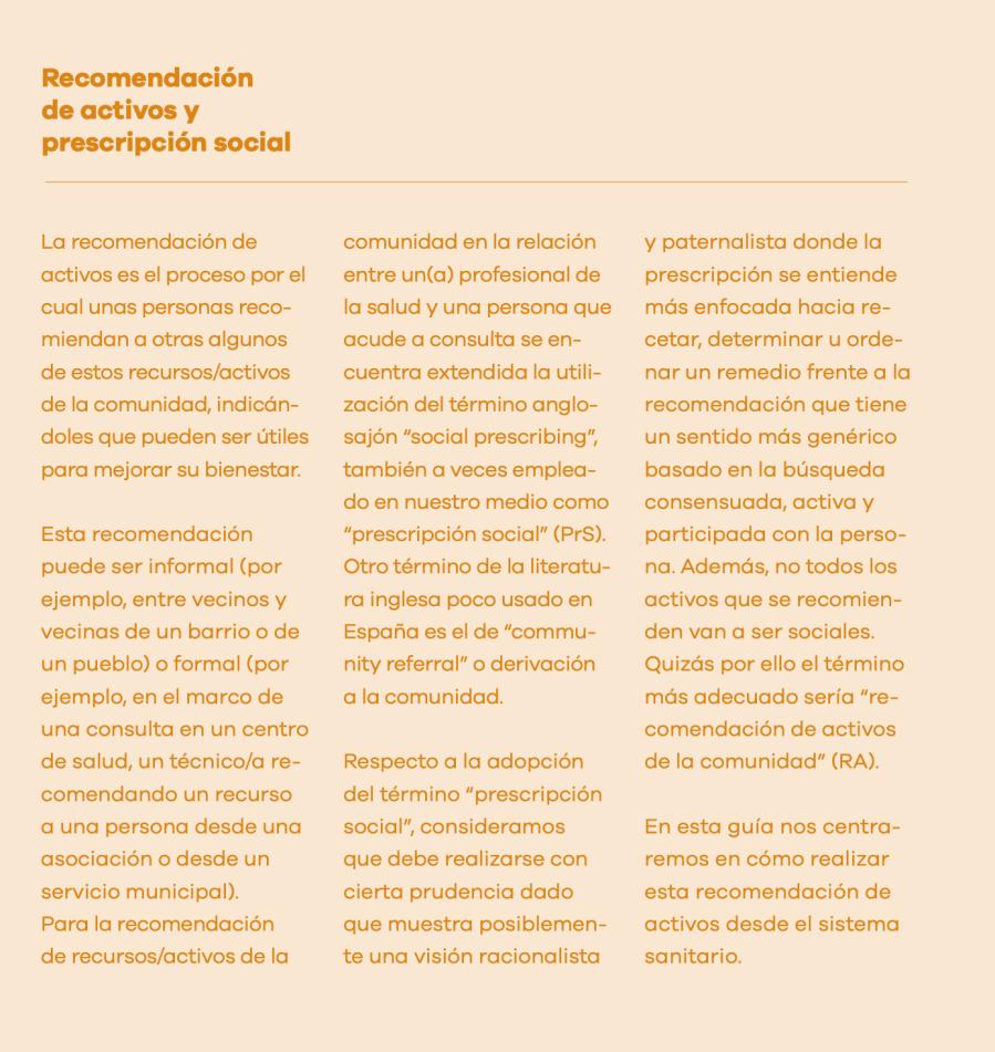 """Recomendación de activos y """"prescripción social"""""""